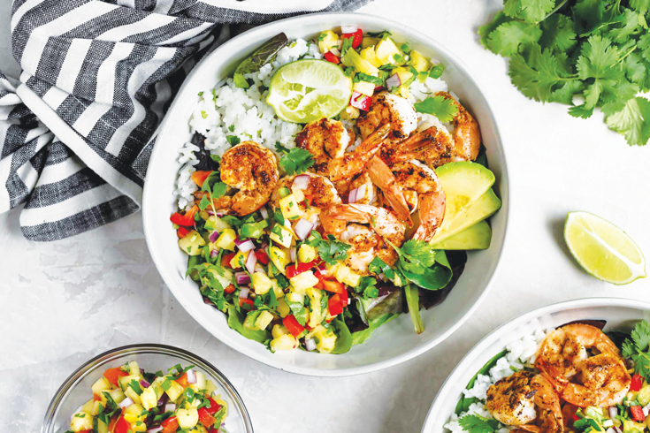 SHRIMP BOWLS WITH COCONUT CILANTRO LIME RICE AND PINEAPPLE SALSA